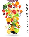 falling of fruits and... | Shutterstock . vector #492194833