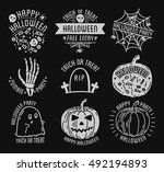 set of halloween stylish logos... | Shutterstock .eps vector #492194893