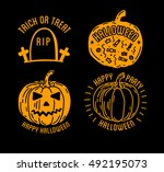 happy halloween design... | Shutterstock .eps vector #492195073