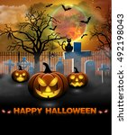 spooky card for halloween.... | Shutterstock . vector #492198043