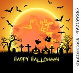 halloween illustration with... | Shutterstock . vector #492199387
