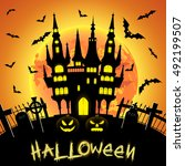 halloween illustration with... | Shutterstock . vector #492199507