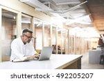 mature businessman provides... | Shutterstock . vector #492205207