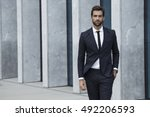 sharp dressed man in business... | Shutterstock . vector #492206593