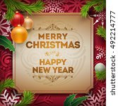 vector christmas and new year... | Shutterstock .eps vector #492214777