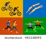 active healthy lifestyle sport... | Shutterstock .eps vector #492238093