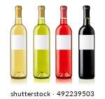 wine bottles with labels... | Shutterstock . vector #492239503