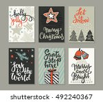 collection of six christmas... | Shutterstock .eps vector #492240367
