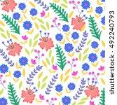 flowers pattern  vintage... | Shutterstock .eps vector #492240793