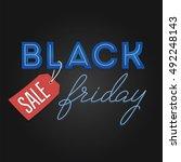 black friday sale retro light... | Shutterstock .eps vector #492248143