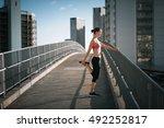 female runner in the city... | Shutterstock . vector #492252817