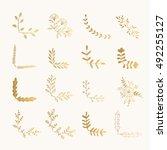 set of golden floral corners.... | Shutterstock .eps vector #492255127