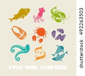 color fish and seafood icon.... | Shutterstock . vector #492263503