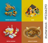 mining concept icons set with... | Shutterstock .eps vector #492266293