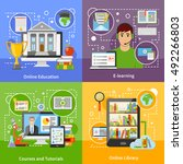 online education for university ... | Shutterstock .eps vector #492266803