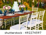 decorated for wedding elegant... | Shutterstock . vector #492274597