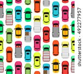 seamless pattern with cars on... | Shutterstock .eps vector #492277957