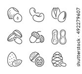 Basic Nuts Thin Line Icons Set...