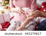 close up of christmas present  | Shutterstock . vector #492279817