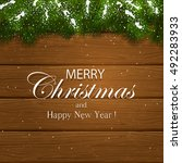 inscription merry christmas and ... | Shutterstock .eps vector #492283933