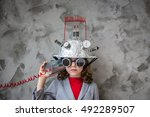kid with toy virtual reality... | Shutterstock . vector #492289507