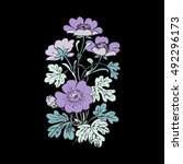 floral bush retro on black... | Shutterstock .eps vector #492296173