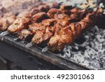 Grilled Kebab Cooking On Metal...