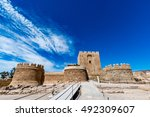 Small photo of View of the Christian part of the Alcazaba in Almeria (Almeria Castle) on a beautiful day, horizontal, Spain