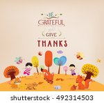 thanksgiving day. kids funny... | Shutterstock .eps vector #492314503