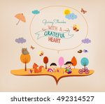 thanksgiving day. kids funny... | Shutterstock .eps vector #492314527