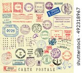 vector document stamp set.... | Shutterstock .eps vector #492318967