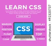 laptop with css word on screen. ... | Shutterstock .eps vector #492320737