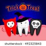 happy halloween of teeth... | Shutterstock .eps vector #492325843