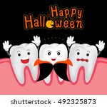 happy halloween of teeth and... | Shutterstock .eps vector #492325873