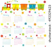 2017 calendar with toy train... | Shutterstock .eps vector #492329623