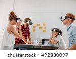 business team using virtual... | Shutterstock . vector #492330097