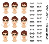 woman sunglasses shapes for... | Shutterstock .eps vector #492340027