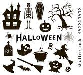 set of halloween icons on white ... | Shutterstock .eps vector #492351913