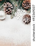snowy christmas background with ... | Shutterstock . vector #492369037