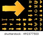 arrow vector 3d button icon set ... | Shutterstock .eps vector #492377503