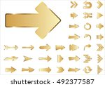Arrow vector 3d button icon set gold color on white background. Isolated interface line symbol for app, web and music digital illustration design. Application sign element collection.   Shutterstock vector #492377587