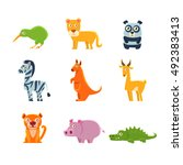 exotic toy fauna collection | Shutterstock .eps vector #492383413