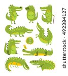 crocodile cute character in... | Shutterstock .eps vector #492384127