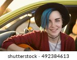 closeup face portrait of folk... | Shutterstock . vector #492384613