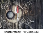 rural vintage wood kitchen... | Shutterstock . vector #492386833