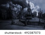 spooky moonlit old european... | Shutterstock . vector #492387073