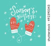 christmas lettering and... | Shutterstock .eps vector #492390343