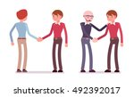 set of male characters in a... | Shutterstock .eps vector #492392017