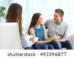 happy couple listening to a...   Shutterstock . vector #492396877