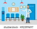 doctor in waiting room.... | Shutterstock .eps vector #492399697